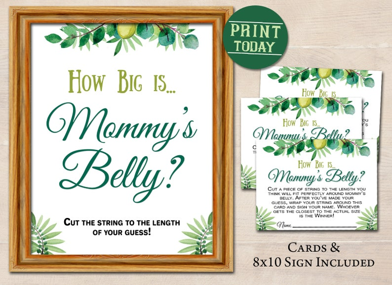 Greenery Watercolor Sign & Card How Big Is Mommys Belly Game | Instant  Print | INSTANT DOWNLOAD | DIY Baby Shower Party Game