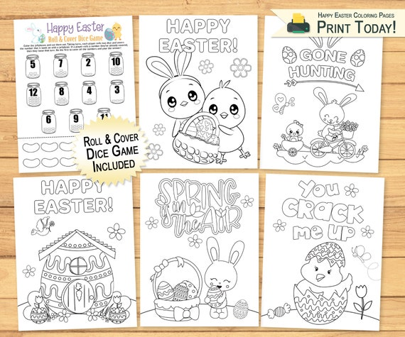 Coloring Pages & Dice Game for Kids  Happy Easter Coloring