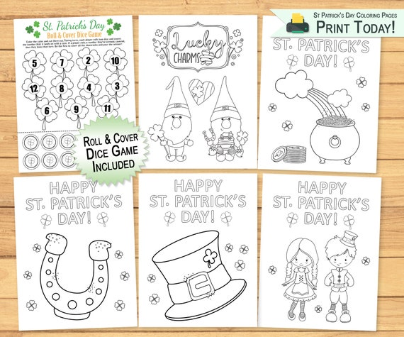 Coloring Pages & Dice Game for Kids  St Patricks Day Coloring