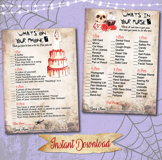 Halloween Ghost Bride Wedding Shower Party Games Set of 8 / Bridal Shower  Games Printables / INSTANT DOWNLOAD / Instant Print Bridal Games