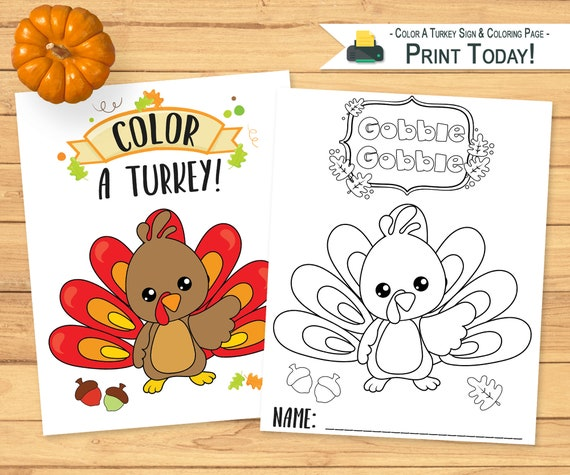 Color A Turkey Display Sign & Coloring Page  Fall