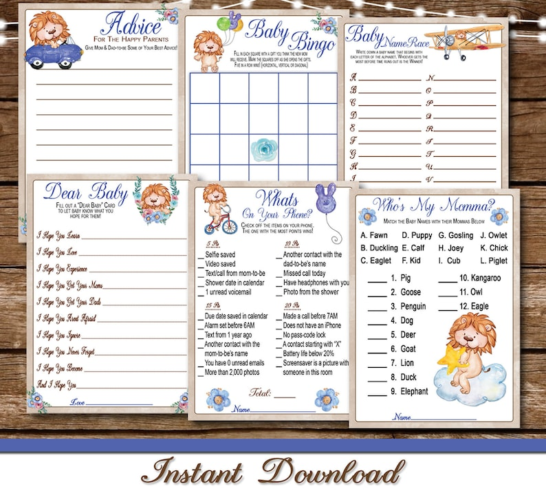 Cute Lions Baby Shower Games Printable / Baby Shower Games Bundle / 6 Games  / INSTANT DOWNLOAD / Set of 6 Instant Print Party Games