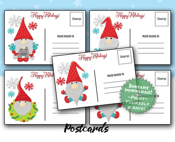 photo regarding Printable Post Cards identified as Printable Postcards / Xmas Gnomes Fastened of 4 / Sbooking Crafts Tags / Postcard Electronic Down load / Fast Down load / Fast Print
