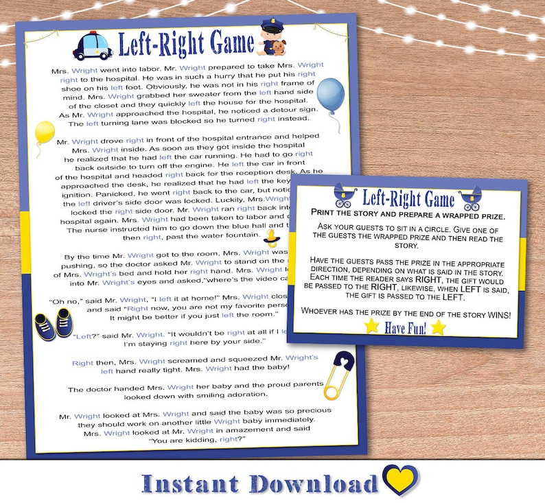 photo relating to Left Right Games Printable titled Boy or girl Shower Activity Printable / Remaining Instantly Match Immediate Print / Kid Officer Remaining Specifically Youngster Shower Match / Instantaneous Down load / Get together Sport