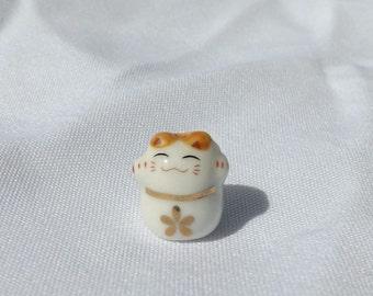 Small Porcelain Cat Bead - With Gold Flower - Maneki Neko - Beckoning Cat, Lucky Cat - Raised Paw