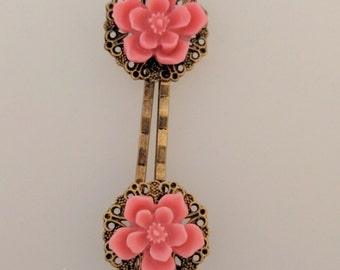 Cherry Blossom Hair Pins - Pair of Bobby Pins with Filigree and Pink Cherry Blossom