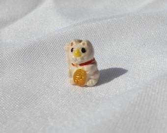 Itty Bitty Small Lucky Cat Bead -  Maneki Neko - Beckoning Cat, Lucky Cat - Raised Paw - Peruvian Ceramic