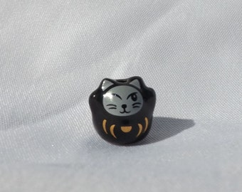 Small Porcelain Winking Black Cat Bead- with gold design - Maneki Neko - Beckoning Cat, Lucky Cat - Raised Paw