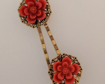 Red Blossom Hair Pins - Pair of Bobby Pins with Filigree and Red Cherry Blossom