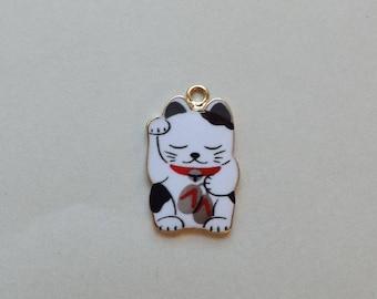 Lucky Cat Charm - Maneki Neko - Beckoning Cat, Lucky Cat - Raised Paw, Eyes Closed