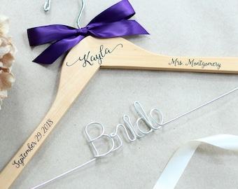Wedding Hanger, Bride Hanger, Personalized Hanger, Custom Decals Wire Hanger, Bridesmaid Hangers, Bride Hanger, Mrs Hanger, Name Hanger