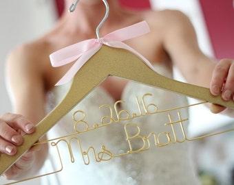 Glitter Gold Silver Pink Bridal Hanger, Personalized Bride Hanger, Bride Hanger, Mrs Hanger, Bridal Hanger