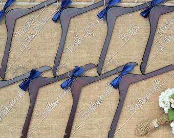 Set of 8 Bridal Hangers, Custom Hangers, Unique Gift, Personalized Wedding Hangers, Bridesmaid Gift, Bride Hanger, Mrs Hanger