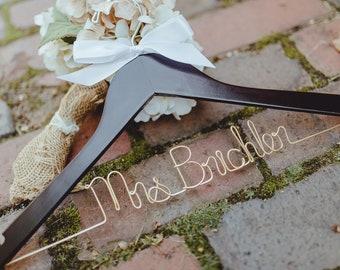 Bride Hanger, Wedding Hanger, Personalized Hanger, Dress Hanger, Bridal Hanger, Custom Wire Hanger, Wood Hanger, Mrs Hanger, Name Hanger