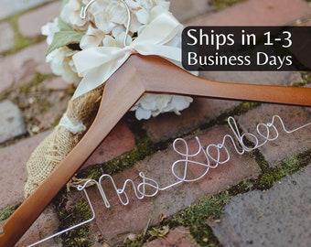 Wedding Hanger, Ships 1-3 Days, Bride Hanger, Personalized Hanger, Bridal, Wedding Dress Hanger, Custom Wire Hanger, Mrs Hanger, Name Hanger