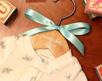 Baby Announcement Hanger, Flower Girl, Unique Baby Idea, Personalized Hanger, Custom Hanger, Child Size Hanger, Custom Vinyl Title Hangers