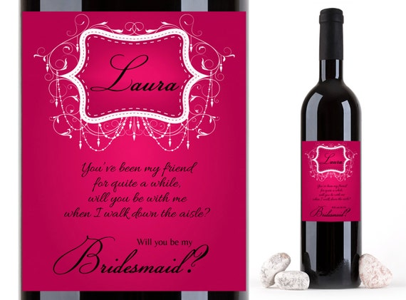 Wine Labels for Maid of Honor  Personalized Photo Bridesmaid Proposal  Custom Sister Label   Burlap Barn Wedding  Will you be my Bridesmaid