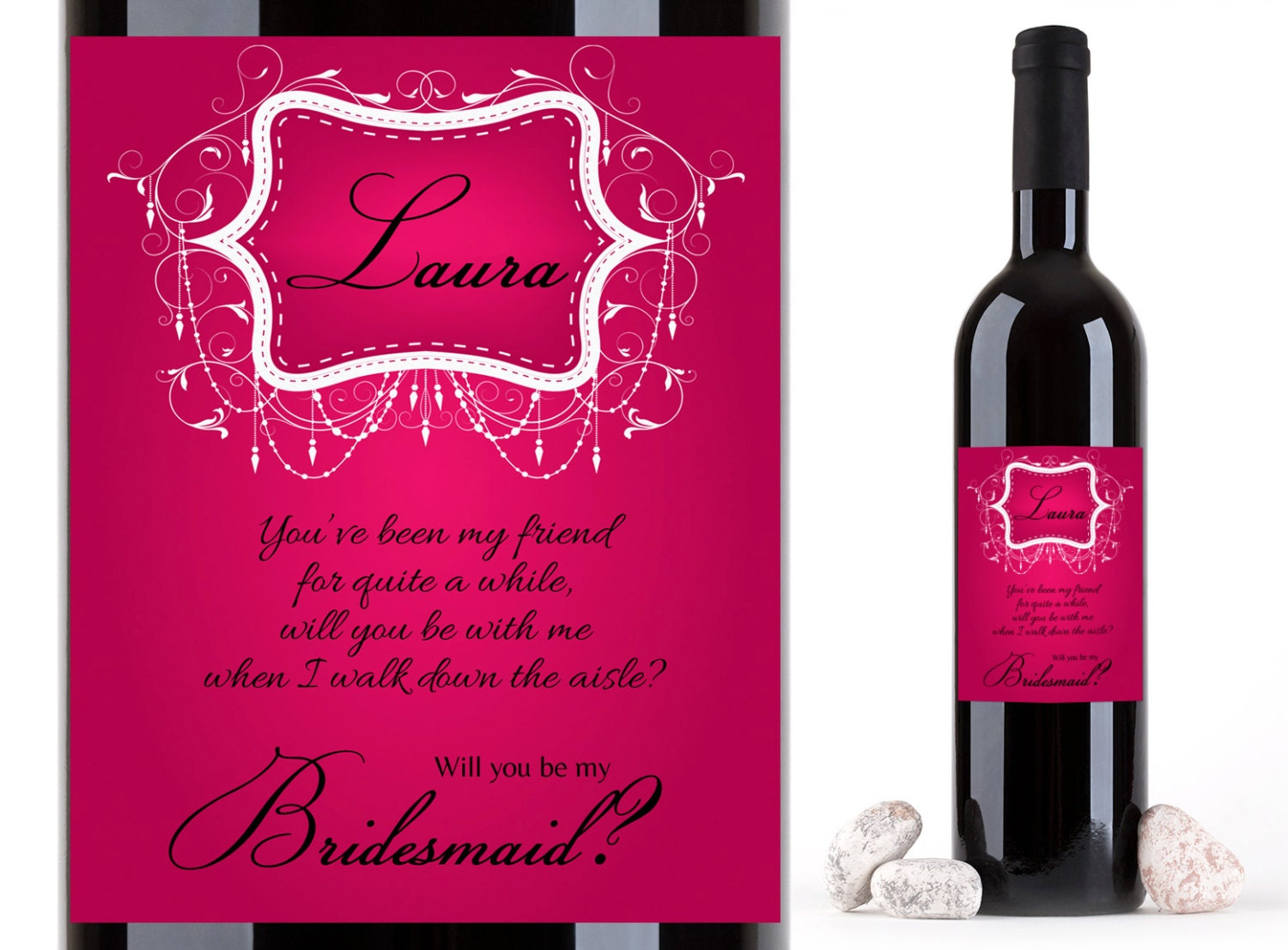 Custom Bridesmaid Proposal Wine Labels Personalized Wine | Etsy