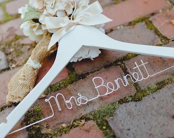 Wedding Hanger, Bride Hanger, Personalized Hanger, Bridal Hanger, Wedding Dress Hanger, Custom Wire Hanger, Mrs Name Hanger