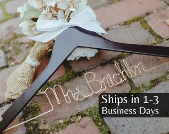 Wedding Hanger, Ships in 1-3 Days, Bride Hanger, Personalized Hanger, Bridal, Wedding Dress Hanger, Custom Wire Hanger, Mrs Hanger