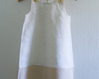Girl's dress made using vintage French linen and antique, hand embroidered fabric, pinafore, smock, summer (58)