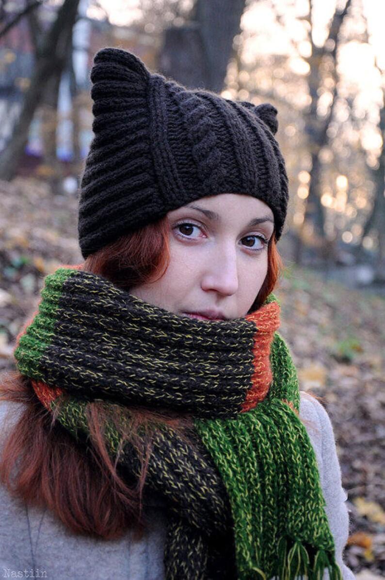 Knit cat ears hat pattern Knit cat hat pattern Knit cat ...