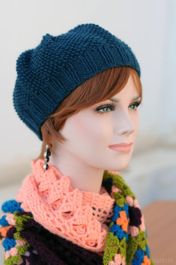 Knit Beret Pattern Knit Hat Pattern Knitting Beanie Slouch Hat Etsy