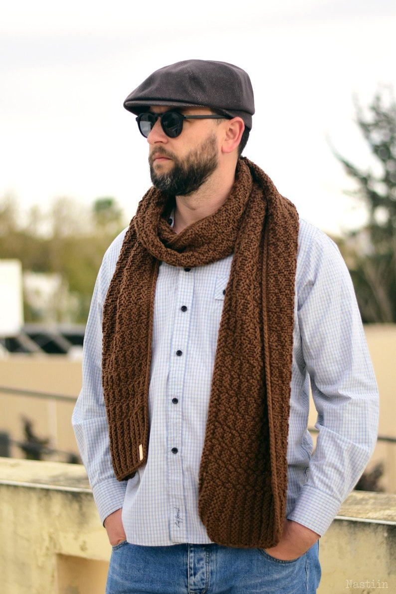 Easy knit scarf pattern Unisex knitted scarf pattern Chunky image 0