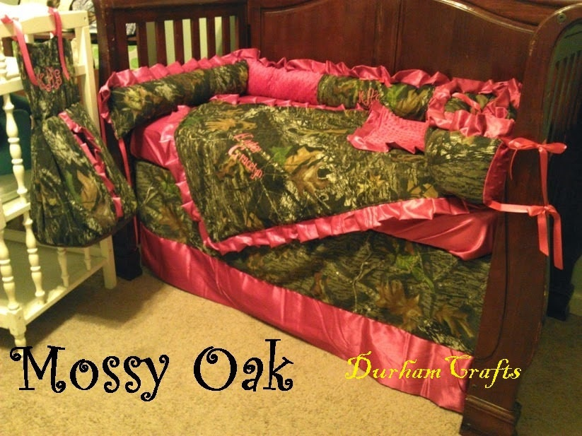 7pc Camo Mossy Oak Fabric Pink Crib Bedding Nursery Set: Baby Bedding Set Mossy Oak Camo And Your Color Choice