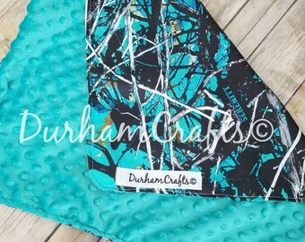 Personalized - Minky Dot - Camo - Baby Blanket - WITHOUT - ruffles