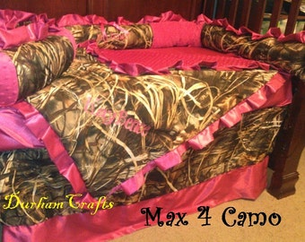 Custom Baby Girl Camo and Pink  Ruffled Bedding Set with FREE Shipping