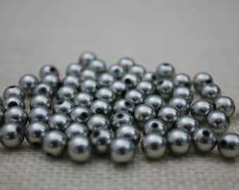 Vintage Matte Silver 6mm Round Beads (36 Pieces)