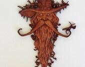 Carved Wood Spirit, Wood Carving, Wood Spirit Carving, Wood Wall Art, Wood Spirit, Carved Wood Tree Spirit, Wood Spirit Wood Carving