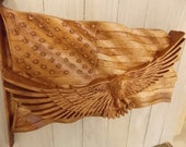 Bald Eagle with American Flag Wood Carving Wall Wall Art Wall Hanging