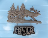 Elk Welcome Sign ~ Rustic Cabin Decor Elk ~ Wood Elk Wall Decor ~ Elk Wood Carvings ~ Elk Cabin Decor ~ Rustic Elk ~ Log Cabin Art