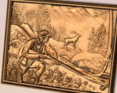 Deer Hunting Wall Art Wood Carving