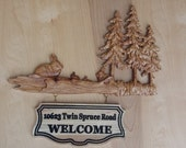 Custom Wooden Signs ~ Family Name Sign ~ Wood Wall Art Wood Carving ~ Rustic Cabin Signs ~ Rabbit Wall Decor ~ Rabbit Wood Carving ~ Address