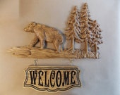 Bear Welcome Sign ~ Rustic Cabin Decor Bear ~ Wood Bear Wall Decor ~ Bear Wood Carvings ~ Bear Cabin Decor ~ Rustic Bear ~ Log Cabin Art