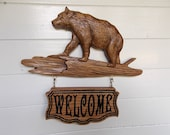 Bear Decor, Bear Sign, Rustic Bear Sign, Personalized Sign, Bear Welcome Sign, Wood Carving Sign, Engraved Wood Sign, Wood Wall Art Sign