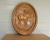 Wall Clock Moose Decor, W...