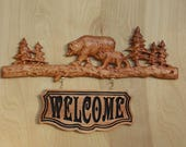 Bear Family Name Sign ~ WOOD WALL ART Sign ~ Personalized Family Name Est Date Sign~ Rustic Wood Sign ~ Outdoor Family Name Sign - 18 x 10""