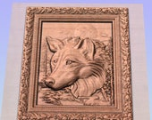 Wooden Wolf Carving, Carved Wolf Wall Hanging, Wood Wall Sculpture, Wolf Head Accent, Home Decor