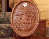 Pheasant Wood Carved Cloc...