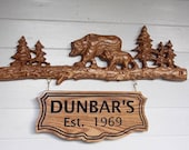 Personalized Cabin Sign, Cabin Decor, Double Hung Bear Sign, Rustic Sign, Rustic Home Decor, Family Cabin Sign, Housewarming Gift Family Est