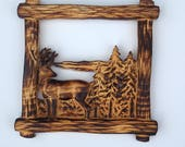 Deer Wall Art, Burnt Wood...