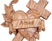 Wood Heart Cross Wall Dec...