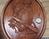 Owl Wall Clock, 3D Wood A...