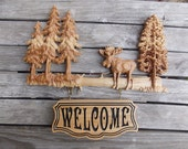 Moose Decor Welcome Sign Wood Carving, Rustic Cabin Wooden Sign, Personalized Wood Signs, 22 x 14 inches, Hickory Wood, No Stain, 2 parts