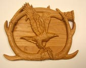 Eagle Wood Carving, Antle...
