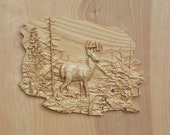 Deer Wall Art Wood Carving SIZE 10 X 14